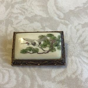 Rare Vintage Pin Hand Painted Signed Sterling